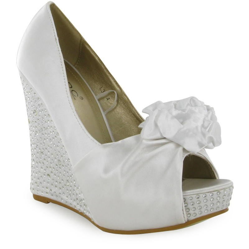 White-bridal-wedge-shoes
